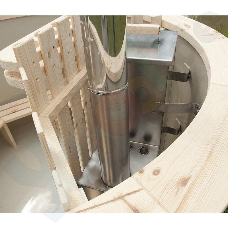 badezuber hot tub 170 x 105 cm rund inkl internem ofen holz abdeckung zubeh r. Black Bedroom Furniture Sets. Home Design Ideas