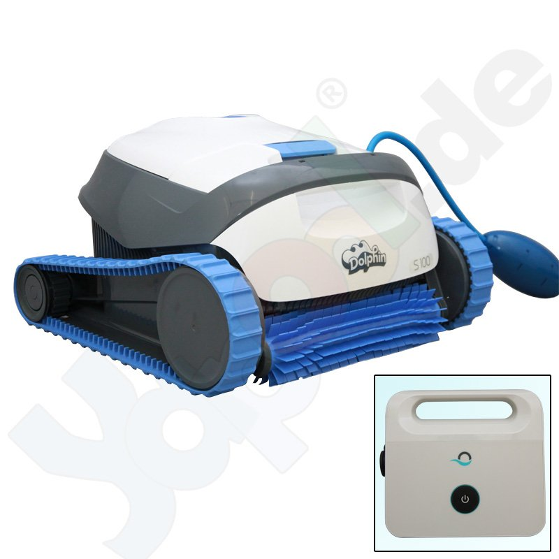 dolphin s100 poolroboter poolsauger mit aktivb rste und filterkorb boden wand. Black Bedroom Furniture Sets. Home Design Ideas