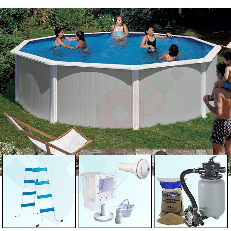 Pool set feeling rundbecken rundpool 3 50 x 1 32 m grau ih for Rundpool set stahlwand