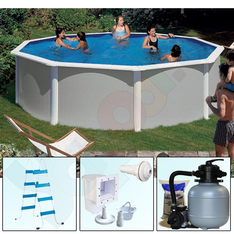 Pool set feeling rundbecken rundpool 5 50 x 1 32 m grau ih for Rundpool set stahlwand