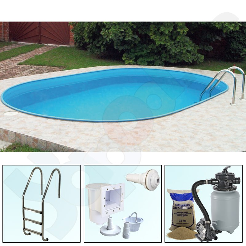 Pool set trend oval pool 4 5 x 2 5 x 1 2 m white for Pool stahlwand oval