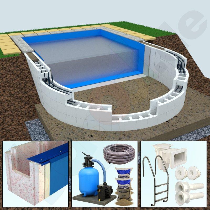 Premium paket yapool stone ps25 styropor pool halbovalpool for Styropor pool rund