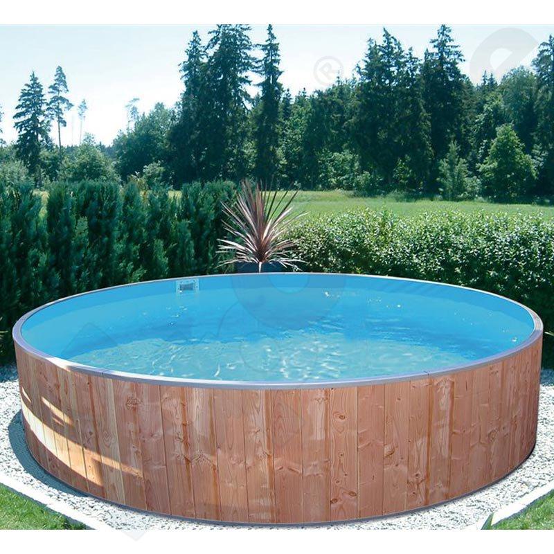Rundbecken fun wood 7 0 x 1 2 m ih blau 0 8 mm for Aufstellpool rund stahlwand