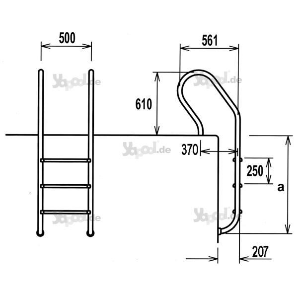 einbauleiter leiter ergoline 300 edelstahl v2a 3 stufig schwimmbad online shop. Black Bedroom Furniture Sets. Home Design Ideas