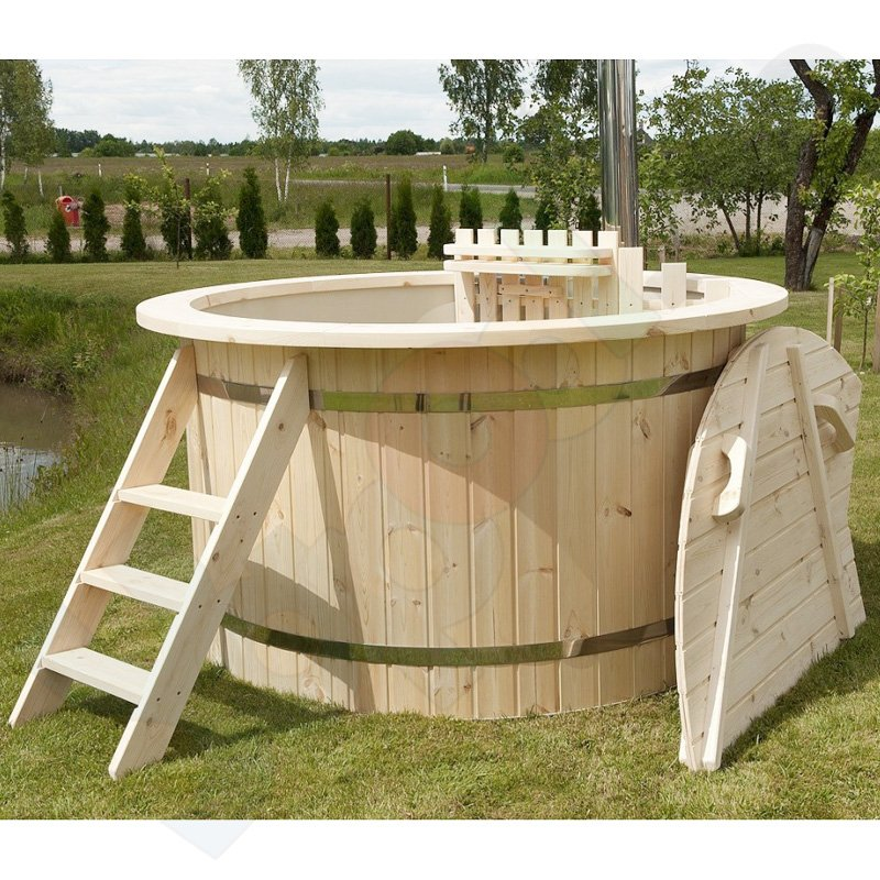 badezuber hot tub 170 x 105 cm rund inkl internem ofen holz abdeckung zubeh r. Black Bedroom Furniture Sets. Home Design Ideas