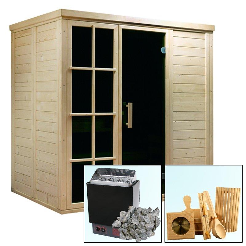 blocksauna holz sauna salla 3 2 08 x 1 47 x 2 09 m saunaofen 4 5 kw paket starter. Black Bedroom Furniture Sets. Home Design Ideas
