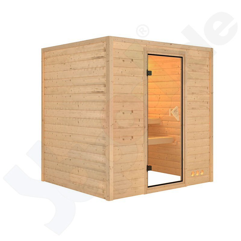 massivholz sauna lieto rechteckig 2 liegeb nke 196x170x198 inkl zubeh rset b. Black Bedroom Furniture Sets. Home Design Ideas
