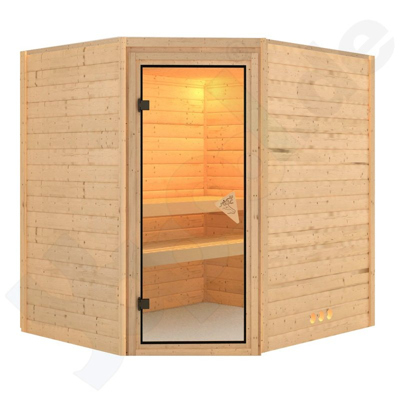 massivholz sauna otava rechteckig 2 b nke eckt r 196x170x198 inkl zubeh rset b. Black Bedroom Furniture Sets. Home Design Ideas