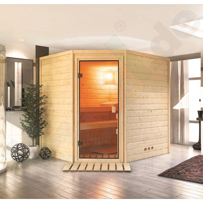 massivholz sauna otava rechteckig 2 b nke eckt r. Black Bedroom Furniture Sets. Home Design Ideas