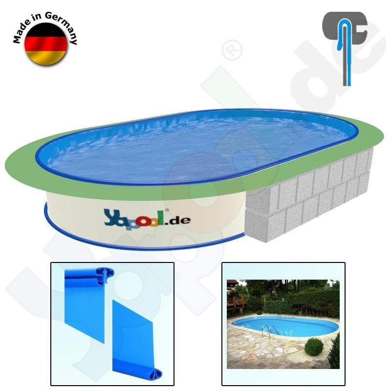 Profi ovalbecken swim 9 16 x 4 6 x 1 5 m folie blau 0 6 mm for Swimmingpool abverkauf