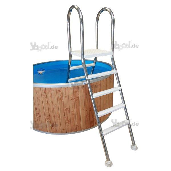 Pool leiter schwimmbecken hochbeckenleiter e120 edelstahl for Poolleiter bei obi