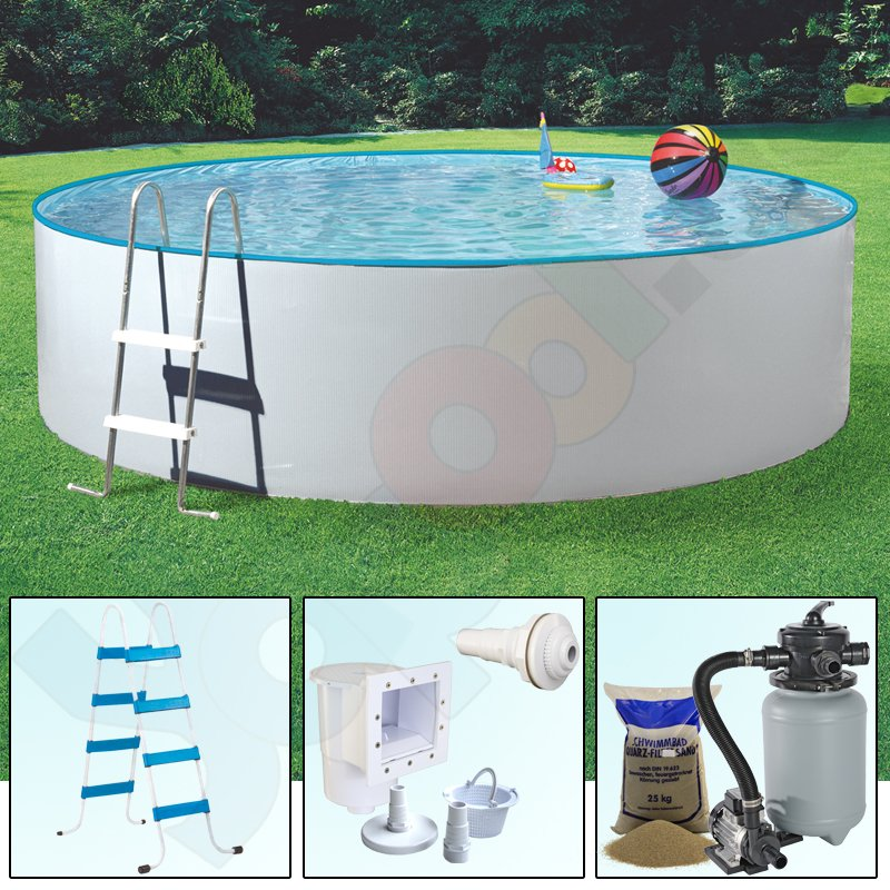Pool set splash rundbecken rundpool 3 6 x 0 9 m weiss ih 0 for Rundpool stahlwand