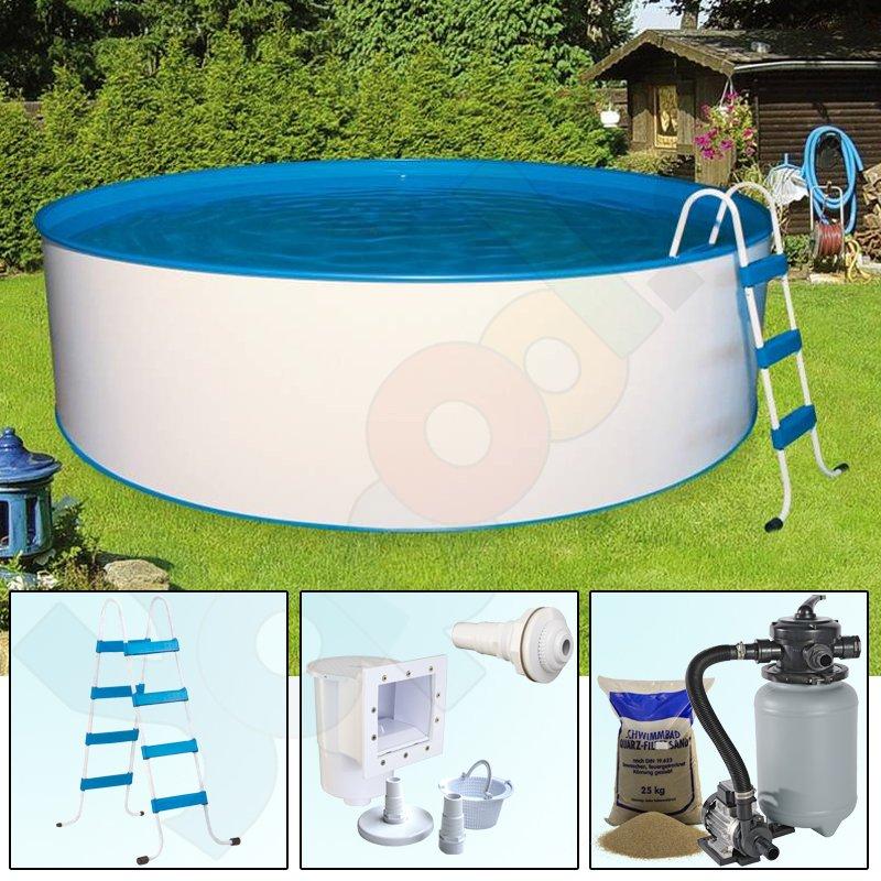 Ordentlich Pool-Set TREND Rundbecken Rundpool 4,5 x 1,2 m IH 0,4 mm blau  KC81