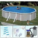 Pool-Set FEELING Ovalpool 6,10 x 3,75 x 1,20 m grau IH 0,4 mm blau Sandfilter