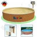 Rundbecken FUN WOOD 1,5 x 0,9 m Folie sand 0,6 mm Alu Kombihandlauf