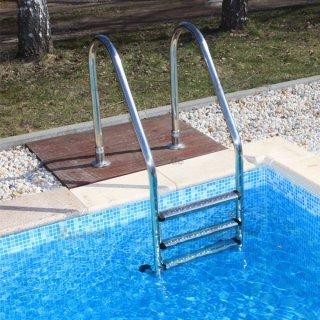 ... Pool Leiter Schwimmbecken Einbauleiter Comfort 400 Edelstahl V2A 4  Stufig ...