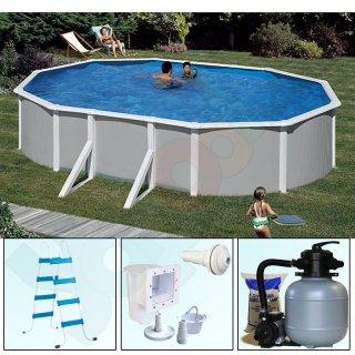 Pool-Set FEELING Ovalpool 6,10 x 3,75 x 1,32 m grau IH 0,4 ...