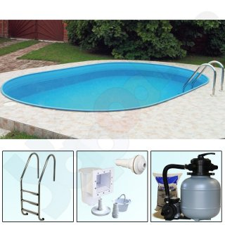 Pool-Set TREND Ovalbecken Ovalpool 5,0 x 3,0 x 1,2 m IH 0,4 mm blau Sandfilter