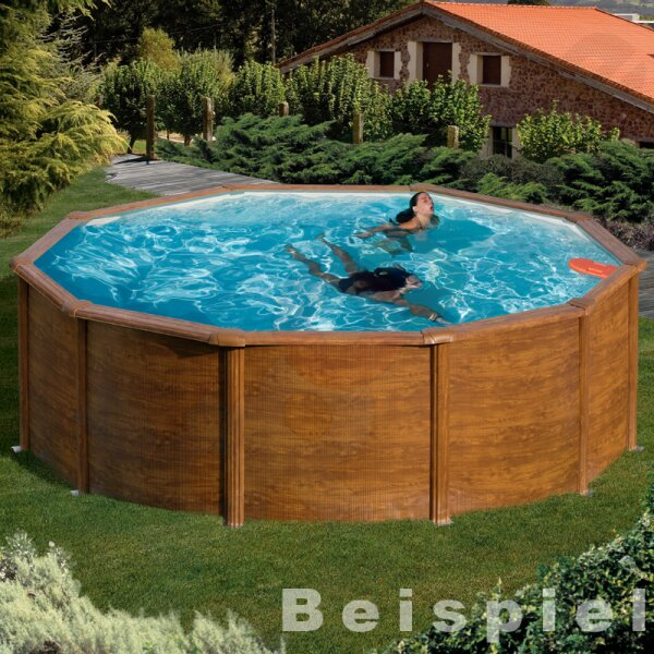 Pool-Set FEELING Rundbecken 3,0 x 1,2 m Holzoptik IH 0,3 mm blau Sandfilter