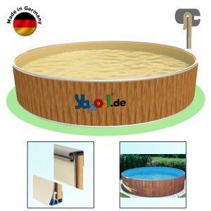Rundbecken FUN WOOD 6,0 x 1,2 m Folie sand 0,8 mm Alu Kombihandlauf